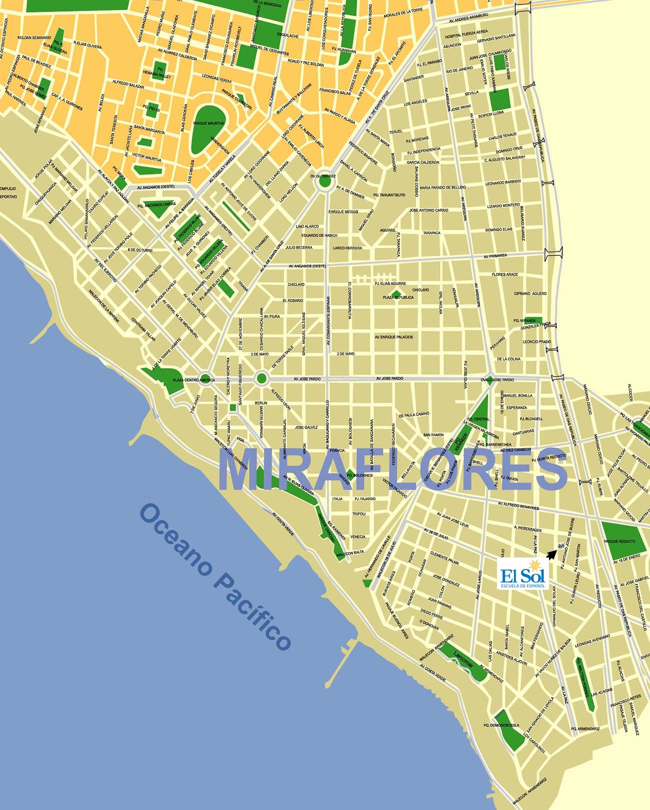 Map of Miraflores Lima - Find our Spanish School Easily