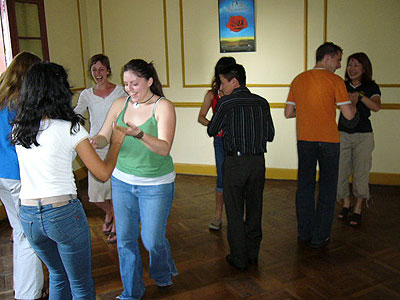 Students practicing salsa in Lima
