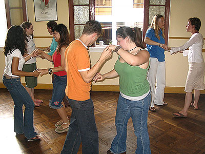 Spanish students learning Salsa