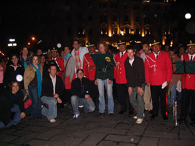 Photo with a police marching band